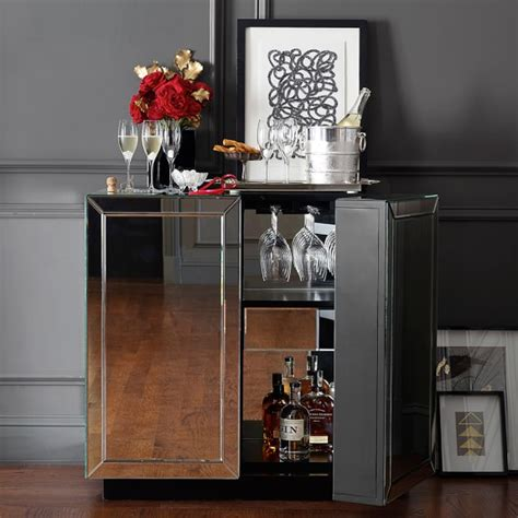 Mirrored Bar Cabinet Harrington Mirrored Bar Cabinet Williams Sonoma