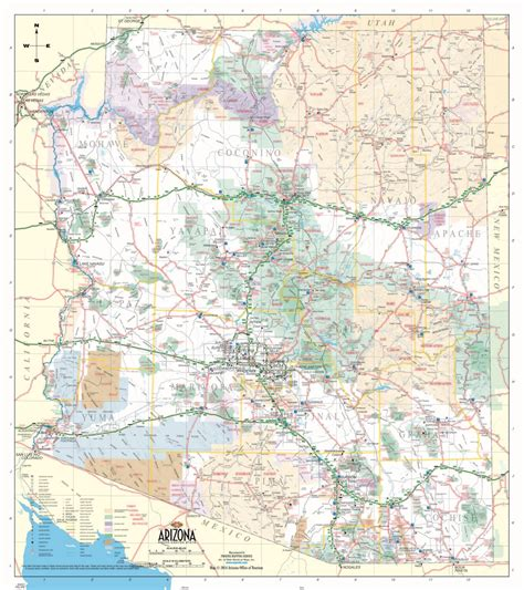 arizona highway map official arizona state highway map rocky mountain maps