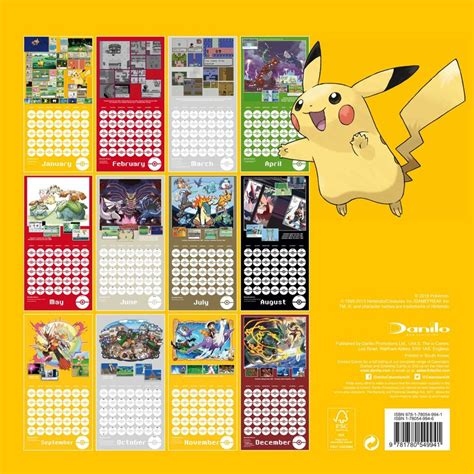 libro pokemon official 2018 calendar pok 233 mon calendars 2018 on abposters com
