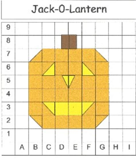 halloween grid coloring pages mathwire introduction to coordinate graphing