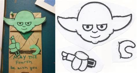 printable yoda template may the fourth be with you yoda paper bag puppet with