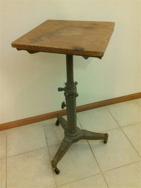 Typing Table by Vintage Industrial Karlo Typewriter Stand Adjustable Cast