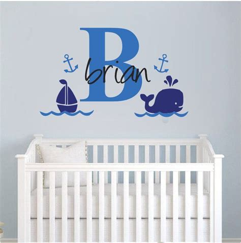 whale l for nursery wall stickers custom name whale sail boat baby vinyl