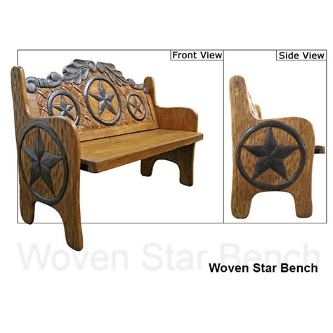 star bench carved collection woven star bench cb250