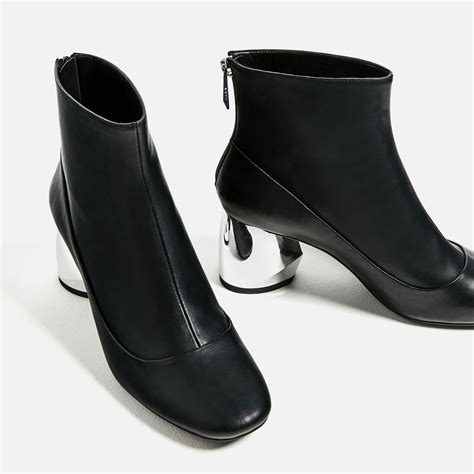 zara ankle boots with metal heel lyst