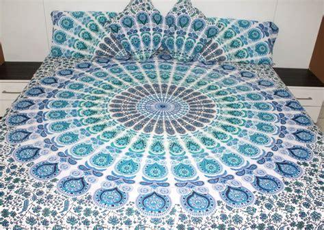 bohemian blue  white peacock blanket  yoga mandala shop