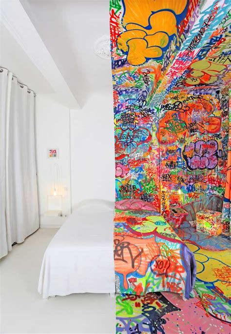 half bedroom half graffiti half blank hotel panic room by tilt