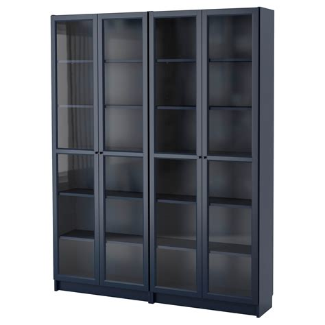 billy oxberg bookcase blue 160x202x30 cm ikea