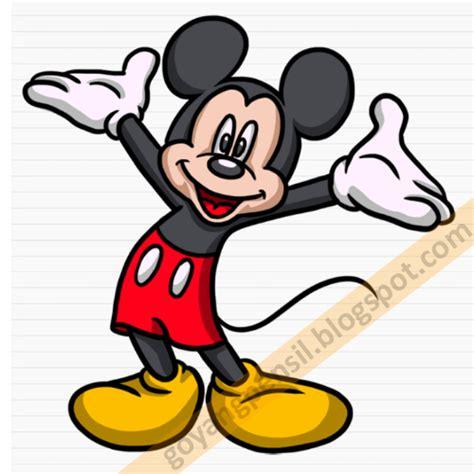 tutorial gambar mickey mouse cara menggambar kartun mickey mouse goyang pensil