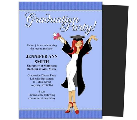 graduation invitation card template word free graduation invitation templates for word