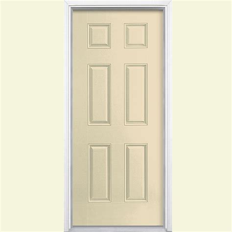 30x80 Exterior Door Masonite 30 In X 80 In 6 Panel Painted Steel Prehung Front Door With Brickmold 43063 The