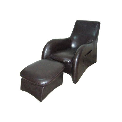 arm chair with ottoman ore international black leather arm chair with ottoman