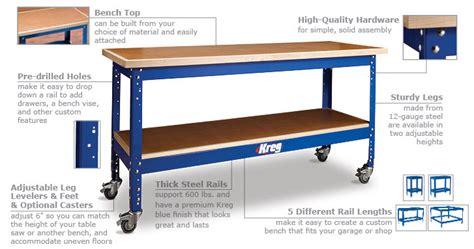 kreg universal bench drawers kreg universal bench with standard height legs workspace