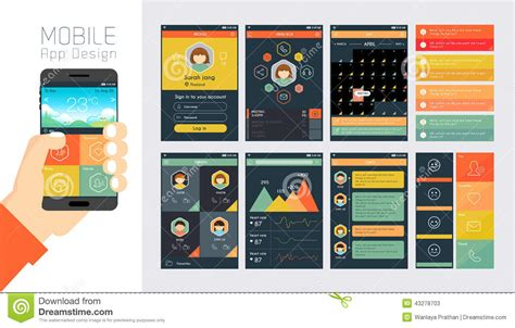 app design elements vector template for mobile app and website design stock vector