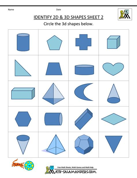 printable shapes for first grade worksheets first grade shape identifying activities