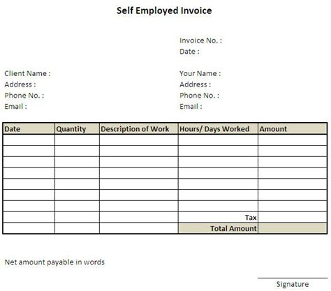Resume For Self Employed Contractor Exle by 86 Best Excel Invoice Template Images On
