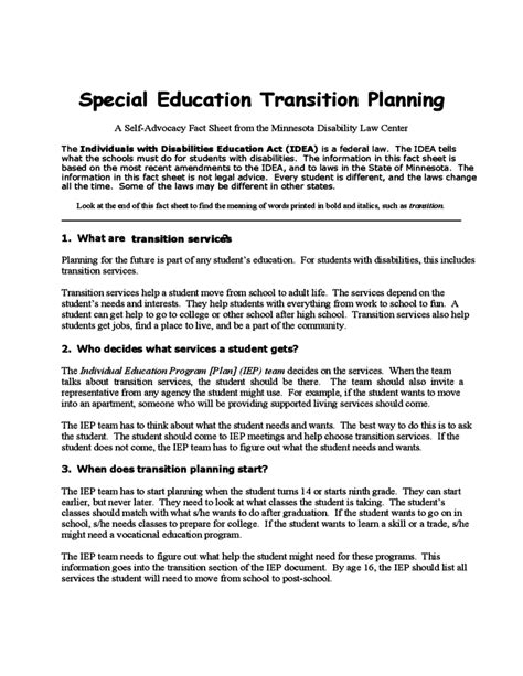 student transition plan template special education transition planning template free