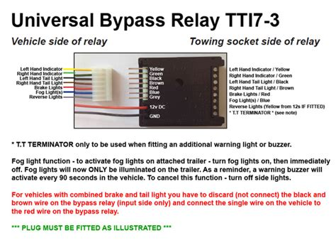 universal 7 way bypass relay towing electrics towbar