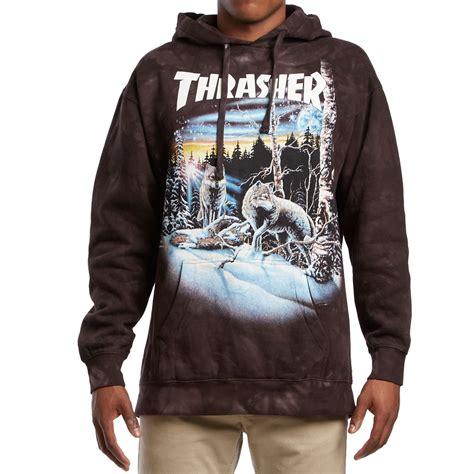 Hoodie Sweater Wolfs Premium thrasher 13 wolves pullover hoodie black tie dye