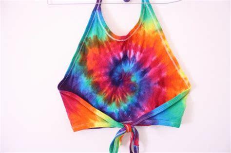 rainbow tie dye halterneck crop top awesome summer