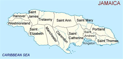 printable map of jamaica with parishes file jamaica administrative divisions parishes en