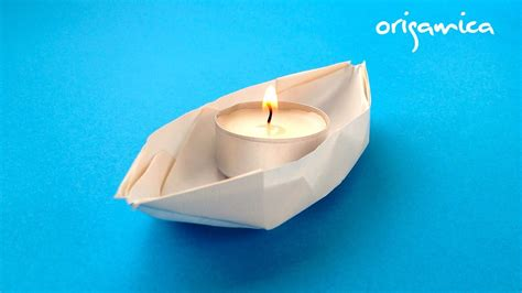 origami boat candles origami loďka na sv 237 čku origami boat with candle youtube
