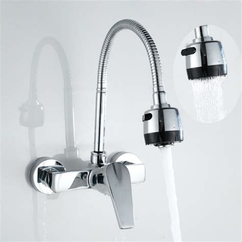 single handle wall mount kitchen faucet flexible faucet spout wall mounted kitchen faucet mixer