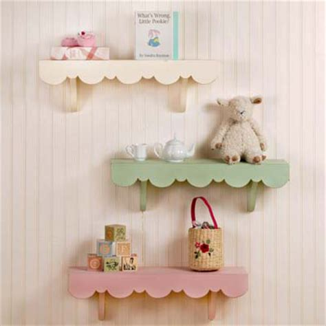 shelves baby room pink white or green scallop shabby chic cottage shelves