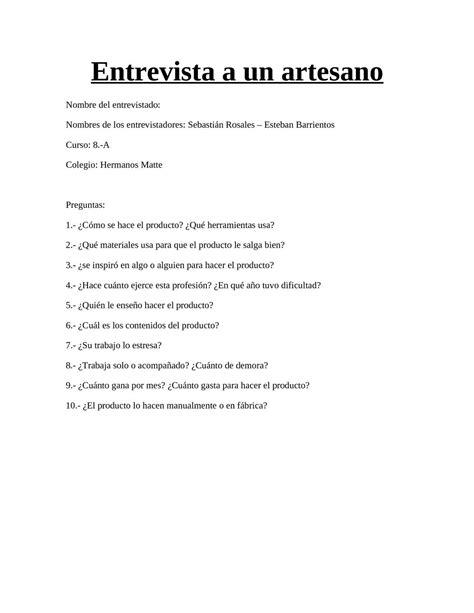 preguntas para una entrevista sobre la eutanasia calam 233 o entrevista a un artesano