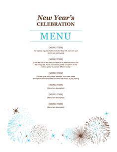 new year menu easy menu template word