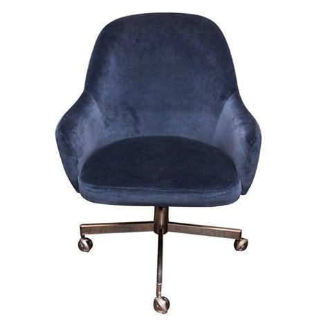 Lounge Armchair Knoll Desk Chair In Blue Velvet At 1stdibs