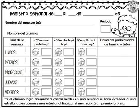 formato de registro de conducta y disciplina en el aula tu escuelita excelente registro semanal de conducta trabajos y tareas
