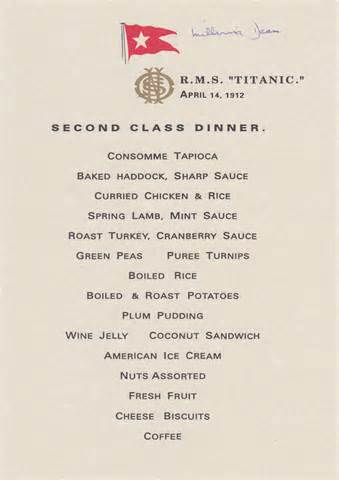 titanic second class menu titanic second class menu signed by millvina dean titanic
