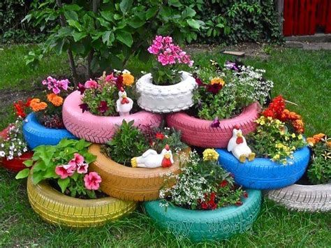 Tire Planters Garden by Painted Tire Planters Garden Outdoors
