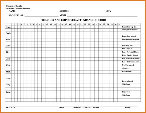 42 outstanding sles of attendance record templates twihot