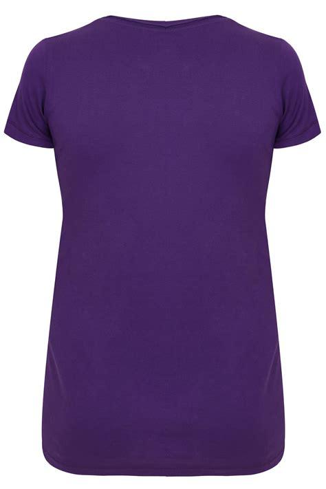 Neck Basic T Shirt purple sleeved v neck basic t shirt plus size 16 to 36