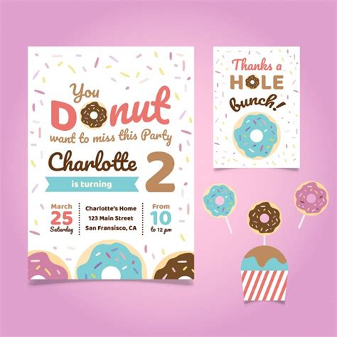 Donut Theme Birthday Party Invitation Vector Free Download Free Donut Invitation Template