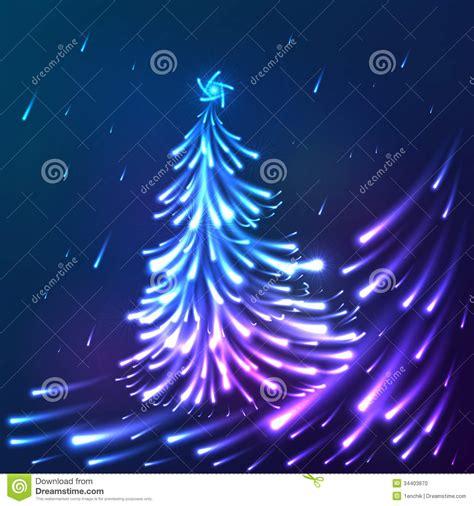 vector shining lights blue neon christmas tree stock