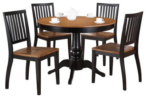 42 Inch Dining Room Table Steve Silver Candice 5 42 Inch Dining Room Set In Oak And Black Contemporary