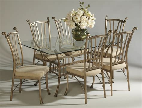 wrought iron and glass dining room set glass table style