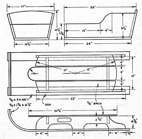 sle blueprints woodwork wooden sled pattern pdf plans