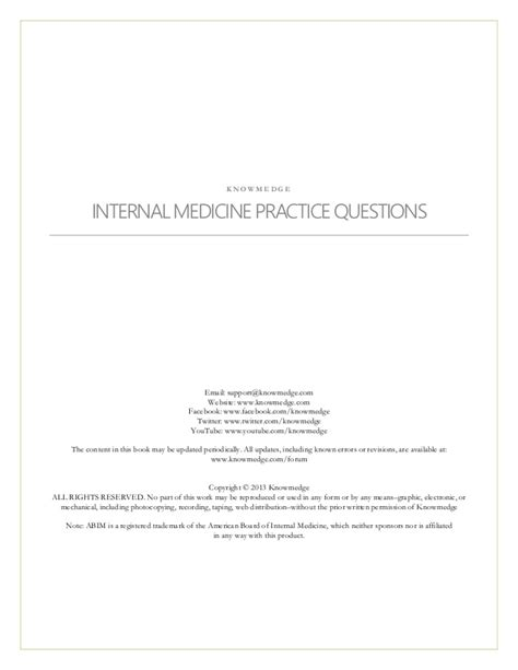Medicine Shelf Review by Medicine Practice Questions For Abim Nbme