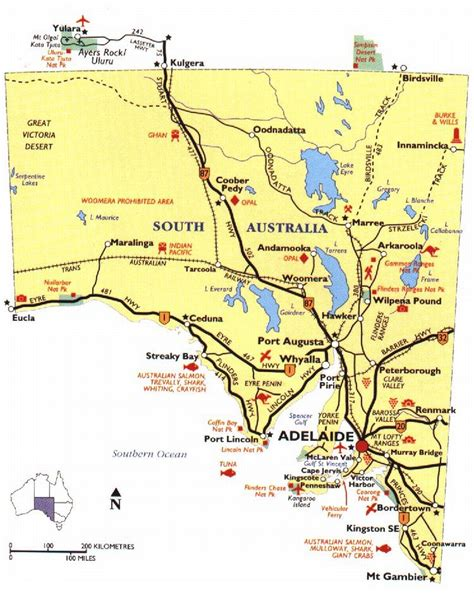 map of southern australia with cities south australia region map map of australia region political