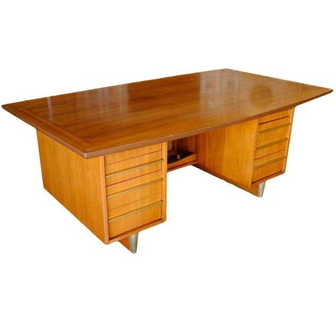 mid century quot the quot mahogany executive desk with brass