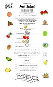 fruit salad song exercises fruit salad song
