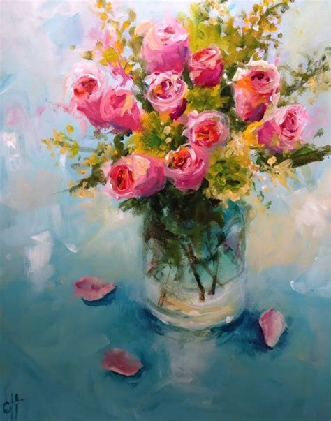 glass acrylic painting roses in a glass vase original acrylic painting 11x14