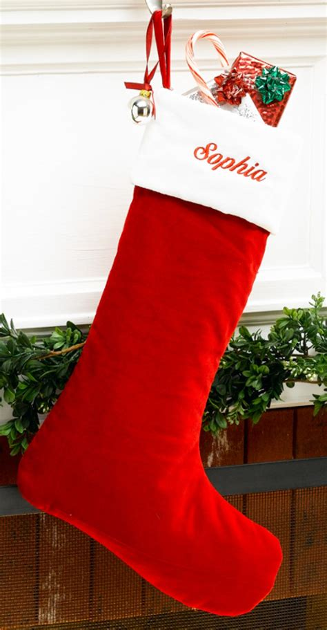 red velvet personalized christmas stocking  white velvet cuff
