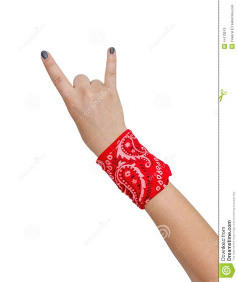 Tie Up Rock N Roll Black Wrist Tali Kamera arm heavy metal and rock n roll sign stock photo image 44913243