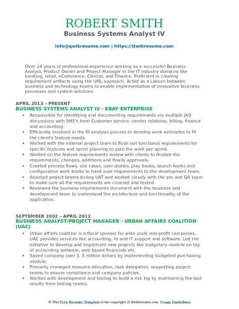 Sle Resume Of Business System Analyst Resume Business Analyst Sle Business Analyst Resume Sle Data Analyst Resume Exles