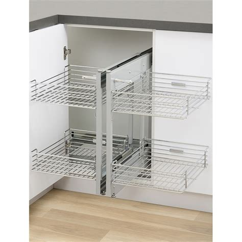 Pull Out Kitchen Cabinet Organizers kaboodle 2 tier chrome blind corner soft close pull out